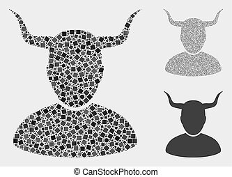 Mosaic Horned user icon organized from spheric and square items in various sizes, positions and proportions. Vector round and square items are organized into abstract illustration horned user icons.