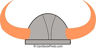 Horned Viking helmet vector or color illustration
