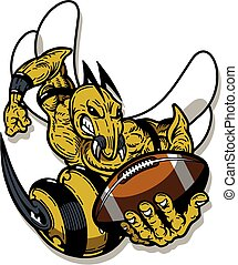hornet football mascot holding ball for school, college or ...