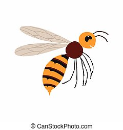 Hornet insect. Vector illustration Isolated on white background.