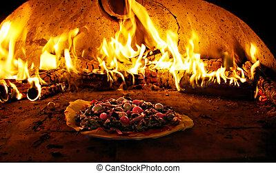 horno de pizza, abrasador, en, llamas