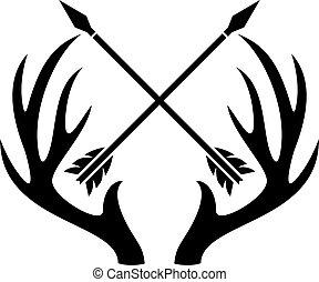 (horns), geweih, hirsch, vektor, gekreuzt, pfeile