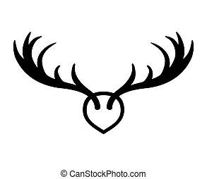 Horns sign for badge, label, logo