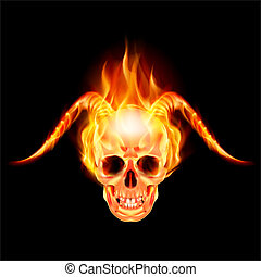 Horny devil - Scary skull on fire with demon flaming horns