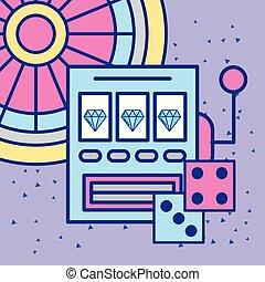 horony gép, kaszinó, kockavetés, és, rulett, hazárdjáték