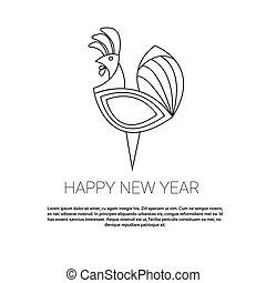 horoscoop, haan, aziaat, jaar, nieuw, 2017, meldingsbord, vogel, vrolijke