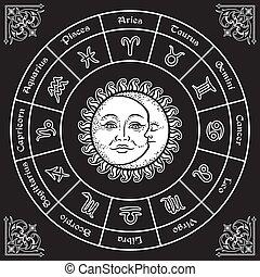 horoscoop, zon, maan, zodiac tekens, cirkel