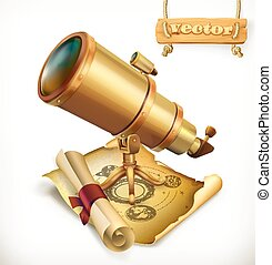 Horoscope and telescope. Astrology 3d vector icon