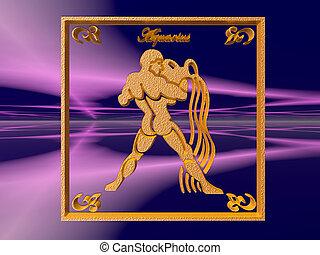 Horoscope, Aquarius. - Zodiac horoscope brass logo aquarius,...