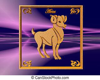 Horoscope, Aries. - Zodiac horoscope brass logo aries, 3D...