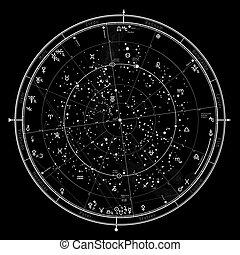 horoscope, astrologique, '2020., général, céleste, nord, hemisphere., global, carte, universel