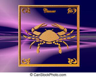 Horoscope, Cancer. - Zodiac horoscope brass logo cancer, 3D...