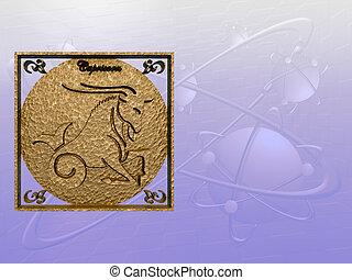 Horoscope, Capricorn - Zodiac horoscope brass logo...