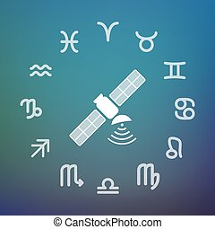 Horoscope circle with a satellite