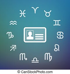 Horoscope circle with an id card