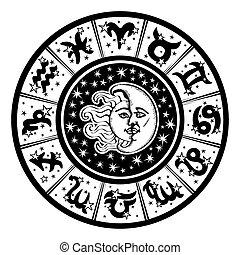 Horoscope circle.Zodiac sign,moon,sun.Black,white - The...