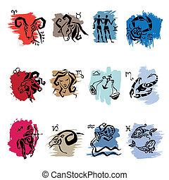 Horoscope. Twelve symbols of the zodiac signs.