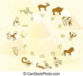 Horoscope in the style of rock art. EPS10 vector illustration