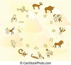 Horoscope in the style of rock art. EPS10 vector illustration