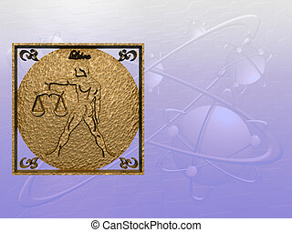 Horoscope, Libra. - Zodiac horoscope brass logo libra, 3D...