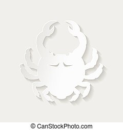 Horoscope paper cut style. Concept for Cancer. Vector illustration