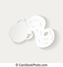 Horoscope paper cut style. Concept of a jug with water for Aquarius. Vector illustration