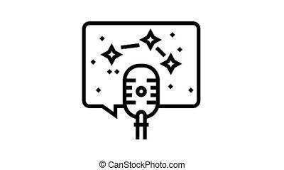 horoscope radio channel animated black icon. horoscope radio channel sign. isolated on white background