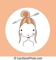 Horoscope Sagittarius sign, girl head