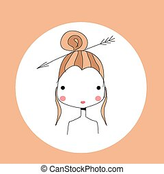 Horoscope Sagittarius sign, girl head