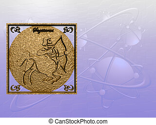 Horoscope, Sagittarius - Zodiac horoscope brass logo...