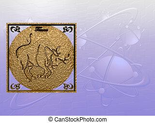 Horoscope, Taurus. - Zodiac horoscope brass logo taurus, 3D...