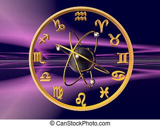 Horoscope, the zodiac. 3D illustration, background,...