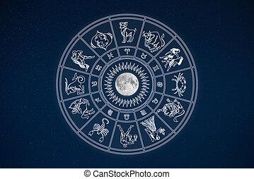 Horoscope wheel of zodiac signs in dark sky with symbols