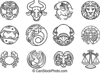 Horoscope zodiac astrology star signs icon set