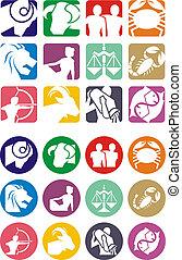 Horoscope symbols in 2D graphic - astrology zodiac illustration