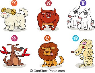 horoscope zodiac signs set with dog characters
