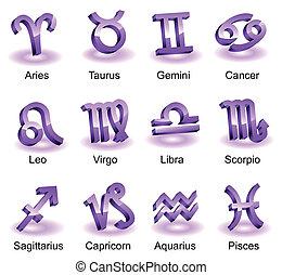 Horoscope zodiac star signs. Violet shiny icons