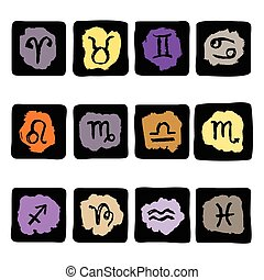 Horoscope Zodiac Star signs, vector set.