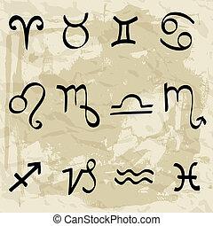 horoscope, zodiaque, étoile signe, vecteur, set.