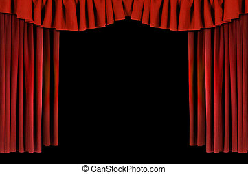 horozontal, drappeggiato, rosso, teatro, tenda
