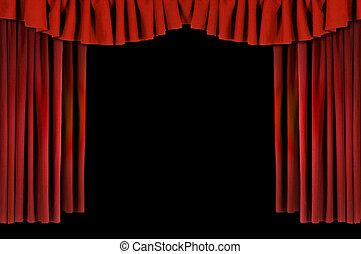 horozontal, gedrapeerd, rood, theater, gordijnen