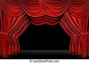 Horozontal old fashioned elegant theater stage with velvet...
