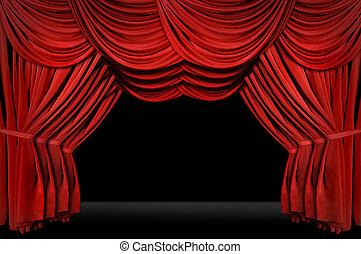 horozontal, vecchio, elegante, foggiato, teatro, palcoscenico
