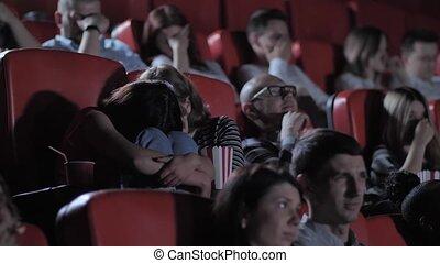 horreur, écolières, exciter, regarder, cinéma, deux