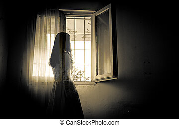 horreur, femme, scène, terrifiant