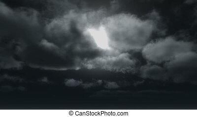 horreur, nuages, 4k, lune