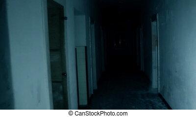 horreur, scène, de, a, effrayant, femme