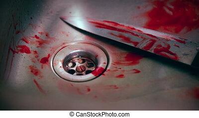 horreur, -, scène, sombrer, couteau, sanguine