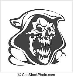 horreur, signe, illustration, squelette, mal, fantôme, vector., mort, faux