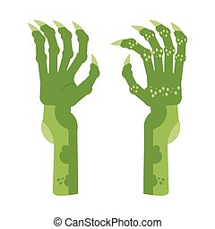 horreur, vert, mains